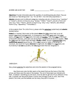 Grammar - Adverbs and Adjectives (The Little Prince)