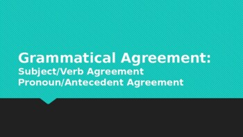 Grammar Agreement Lesson Powerpoint