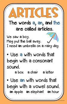 Image result for articles a an the anchor chart