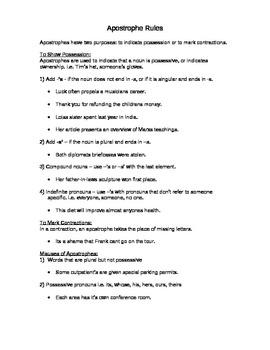 Grammar - Apostrophe Rules Notes and Worksheet by Megan Altman | TpT