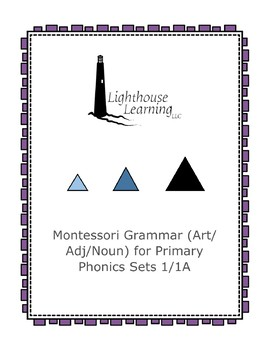 Montessori Grammar (Article/Adjective/Noun) for Primary Phonics Sets 1 and 1A