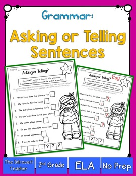 grammar asking or telling sentences by the introvert teacher tpt. Black Bedroom Furniture Sets. Home Design Ideas