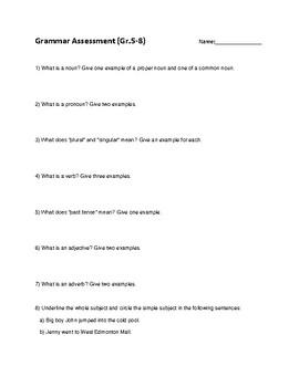 Grammar Assessment (Gr.5-8)
