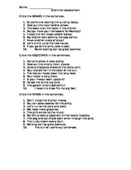 Grammar Assessment - nouns, verbs, adjectives