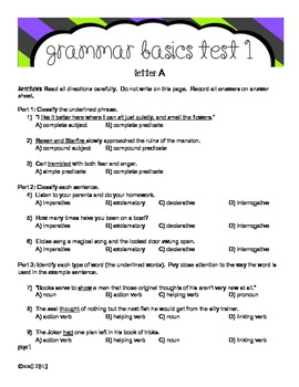 Grammar Basics Test 1