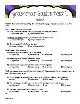 Grammar Basics Test 1