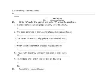 Grammar Bell Ringer (Do Now) 1