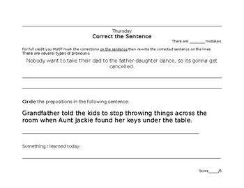 Grammar Bell Ringers (Do Nows) 2