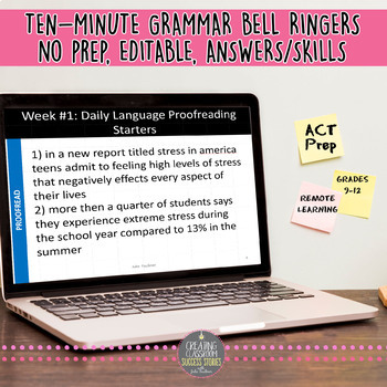 Grammar Bell Ringers, Proofreading, Daily Starters, ACT Prep, VOL #2