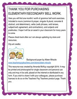 Grammar Bell Work