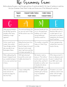Types of Sentences Grammar Review Bingo Game