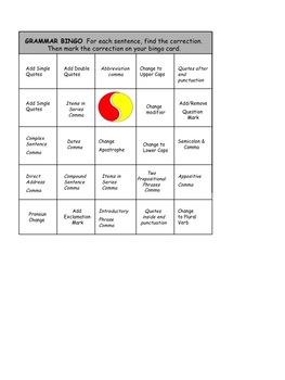 Grammar Bingo Playing Cards
