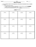 Grammar Bingo Sheet