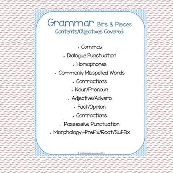 Grammar Bits & Pieces Weeks 5-8, Daily Review, Bell Work, Warm-Up, Test Review
