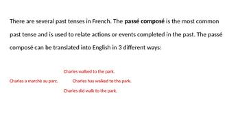 Grammar Blocks FRENCH Passé Composé - Avoir Regular Verbs