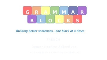 Grammar Blocks - French Demonstrative Adjectives with emph