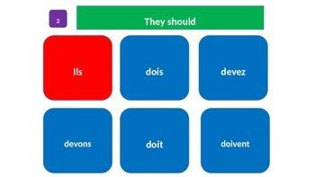 "Grammar Blocks - French Devoir with emphasis on ""Top 50""  verbs"