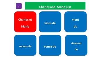 "Grammar Blocks - French Immediate Past with emphasis on ""Top 50"" verbs"