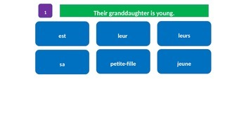"""Grammar Blocks - French Possessive Adjectives with emphasis on """"family"""" vocab"""