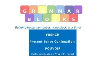 "Grammar Blocks - French Pouvoir with emphasis on ""Top 50"" verbs"