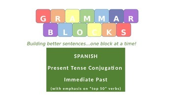 "Grammar Blocks - Spanish Immediate Past with emphasis on ""Top 50"" verbs"