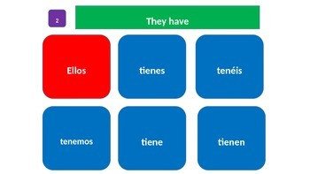 "Grammar Blocks - Spanish Present Tense Tener with emphasis on ""school"" vocab"