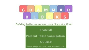 "Grammar Blocks - Spanish Querer with emphasis on ""food"" vocabulary"