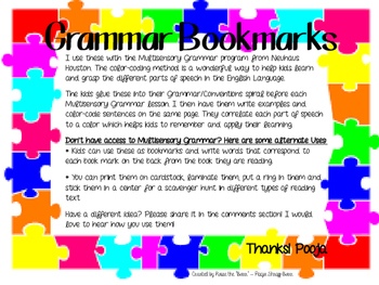 Grammar Bookmarks