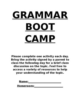 Grammar Boot Camp Set Weeks 1-3