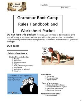 Grammar Bootcamp Packet By Elizabeth Ivey Ela Tpt
