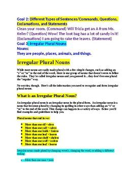 Grammar Buddy Activity /4 Goals