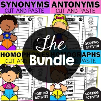 Grammar Worksheets Bundle #1 Cut and Paste