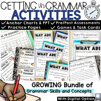 Grammar Bundle for the Year Nouns Pronouns Verbs Adjectives Adverbs