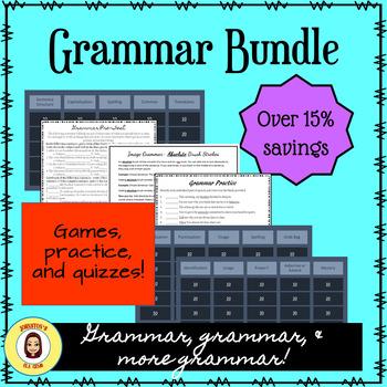 Grammar Bundle- MS Grammar with Image Grammar, Games, Pre-Test, and Practice