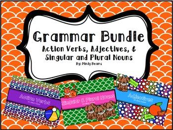 Grammar Bundle - Action Verbs, Adjectives, and Singular and Plural Nouns
