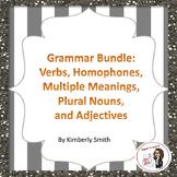 Grammar Bundle: Verbs, Homophones, Multiple Meanings, Plural Nouns & Adjectives
