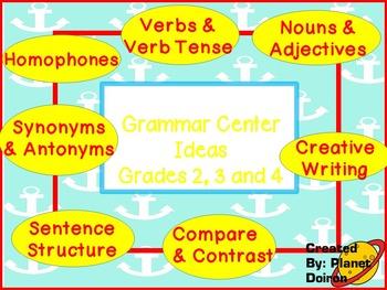 Grammar Centers verbs, sentence structure, creative writing