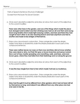 Grammar Challenge! - Parts of Speech/Sentence Structure - Secret Garden - CCSS
