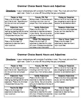 Grammar Choice Board Adjectives/Nouns