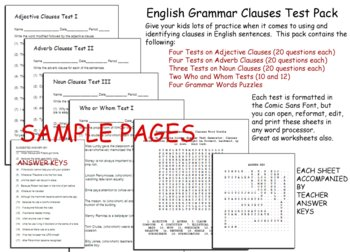 Grammar Clauses Test Pack