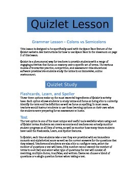 Using Colons and Semicolons - Quizlet Grammar Lesson