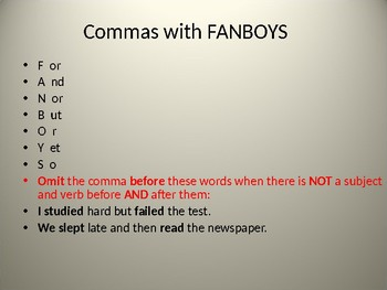 Grammar: Commas & Semi-Colon PowerPoint