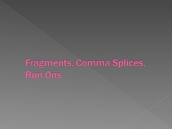 Grammar: Comma Splices, Fragments, & Run-ons (Fused Sentences) PowerPoint