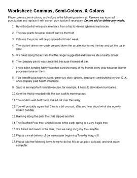 Semicolon Worksheets | Grammar / Writing | Pinterest | Semicolon ...