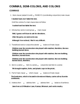Grammar: Commas & Semi-Colon Handout