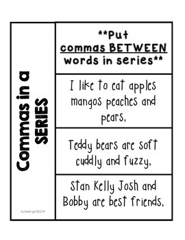grammar commas in a series interactive notebook by runner girl. Black Bedroom Furniture Sets. Home Design Ideas