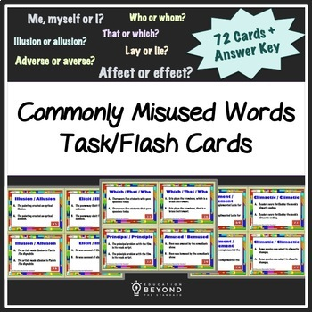 Commonly Misused Vocabulary Words, 72 Task/Flash Cards