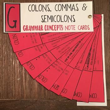 Grammar Concepts: Commas, Colons & Semicolons Note Cards