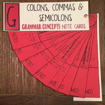 Grammar Concepts: Commas, Colons & Semicolons Note Cards