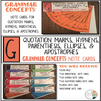 Grammar Concepts: Quotations, Hyphens, & Apostrophes Note Cards